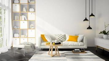inredningsdesign av ett modernt rum i illustration 3d foto