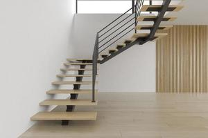 inre tomt rum med en trappa i tolkning 3d foto