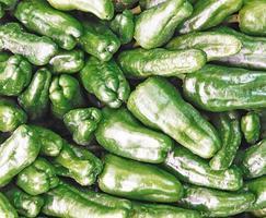 hög med grön paprika foto