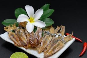 soltorkad bläckfisk i en maträtt foto