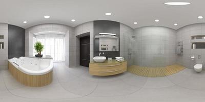 sfärisk 360-panoramaprojektion av en interiör i ett modernt badrum i 3d-rendering foto