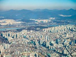 Flygfoto över staden Seoul, Sydkorea