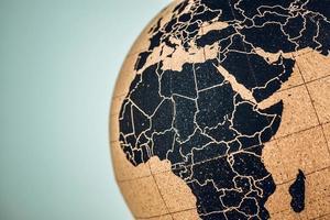 afrika och mitten på en jordglob