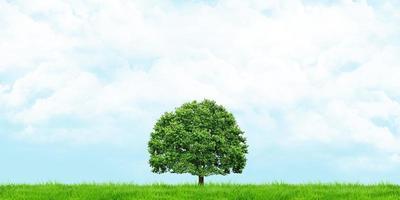Illustration 3d av gräs och träd med sikt av molnig himmel foto