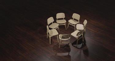 Illustration 3d av tomma stolar som är förberedda för gruppterapi foto