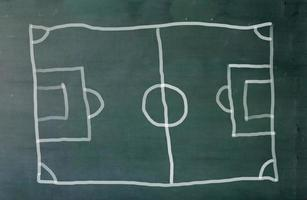 fotbollsplan ritad på svarta tavlan foto