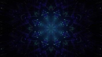 Illustration 3d av neonkalejdoskopmodellen i mörker