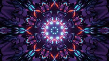 Illustration 3d av den färgrika neonkorridoren foto