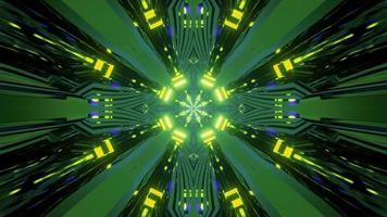 glödande neonbelysning av sci fi art 3d illustration foto