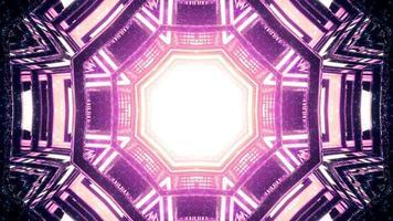 magisk tunnel med geometriska former och neonfärger 3d illustration foto