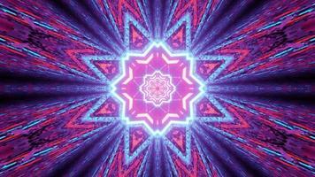 geometriska ornament med färgglada neonljus 3d illustration foto