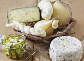 olika typer av ostar på en träbakgrund foto