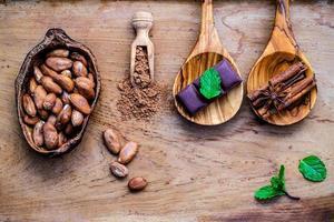 efterrättingredienser på rustikt trä foto