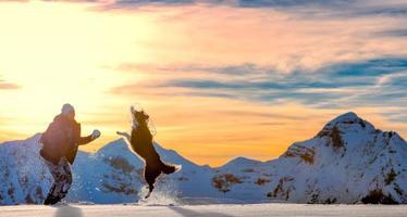 flicka leker med border collie i snön foto