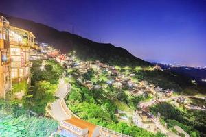 Taipei, Taiwan 2017-- Jiufen Village en bergsby i Taipei som är känd för tehus