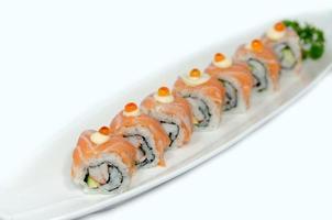 tallrik med sushi foto