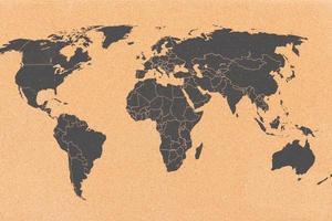 världskarta på kork ombord foto