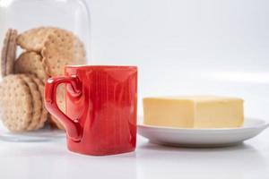 rött kaffemugg foto