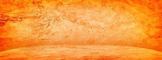 orange cementstudio och showroombakgrund för att presentera produkten foto