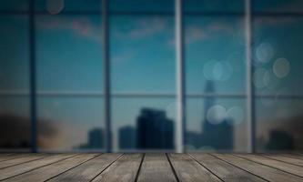 mörk trä counter bakgrund på suddig office bakgrund foto