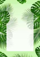 tropiska gröna blad ram med vita gränser på en grön bakgrund