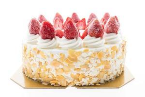vaniljglasskaka med jordgubbar på toppen foto