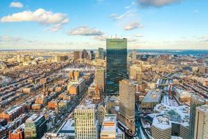 Flygfoto över Boston i Massachusetts, USA vid solnedgången