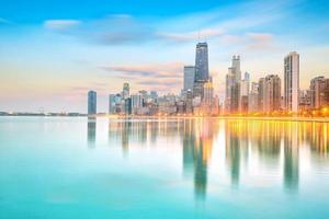 downtown Chicago skyline vid solnedgången Illinois