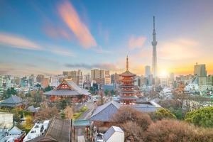 utsikt över Tokyo skyline i skymningen foto