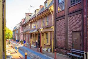 Elfreths gränd i den historiska gamla staden i Philadelphia, Pennsylvania