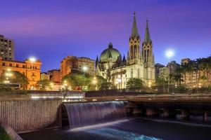 Se katedralen i centrala Sao Paulo Brasilien foto