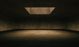 Stort konkret rum 3d som är upplyst av ett övre fönster foto