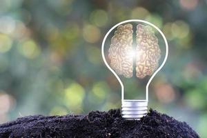 energibesparande glödlampa och affärs- eller affärstillväxtkoncept