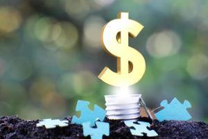 energisparande glödlampa och affärs- eller finanspengakoncept