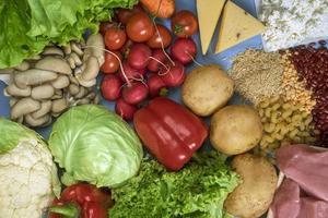 mat för den planetariska kosten, kål, blomkål, sallad, svamp tomater, rädisor, potatis, magert fjäderfä, ost, bönor och ris foto