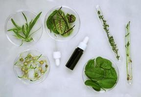 kosmetisk hudvård bakgrund av petriskålar och kosmetiska rör av örtmedicin med gröna blad och kronblad foto