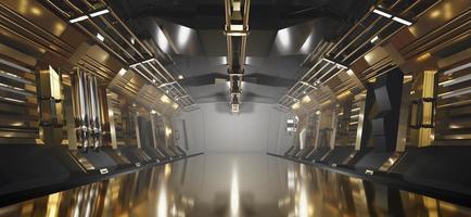Sci-fi guld metallisk korridor bakgrund med spotlight, 3d-rendering foto