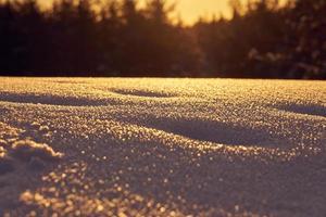 snö i förgrunden på en frostig vinterkväll vid solnedgången foto