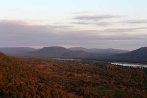 Pha Taem National Park vid solnedgången foto