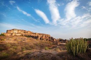 Mehrangarh fort vid Jodhpur, Rajasthan, Indien foto