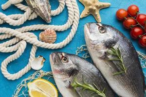 fiskarrangemang med citron ovanifrån foto