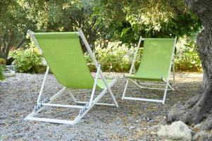 två tomma solstolar i skuggan av olivträd i trädgården foto