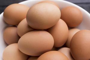 närbild av färska kycklingägg i en vit skål på ett svart träbord