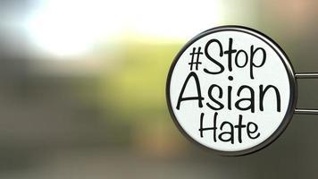 hashtag text med orden stoppa asiatisk hat på en etikett, koncept för att kalla det internationella samfundet att sluta skada och hata asiatiska människor 3d-rendering foto