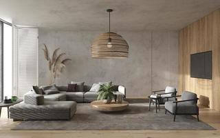 minimalistiskt modernt vardagsrum foto