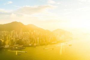 vacker färgrik solnedgång över Hong Kong, Kina