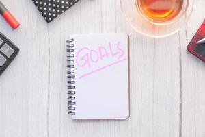 ordet mål i en anteckningsbok foto