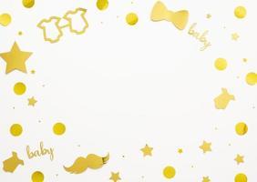dekorationer för baby showerguld på vit bakgrund med kopieringsutrymme foto