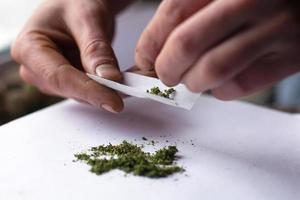 vrida karmen med medicinsk marijuana, cannabisbehandling närbild foto