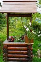 trävatten väl dekorerad med blommor i krukor foto